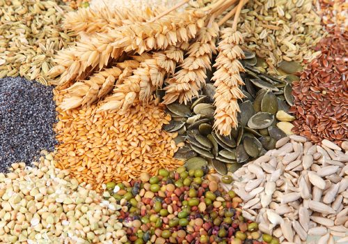 Variety of edible seeds with ripe golden ears of wheat including whole and dehusked sunflower, sesame, poppy, linseed, pulses and legumes
